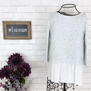 LOFT Grey Speckled Sweater Chiffon Bottom, SP